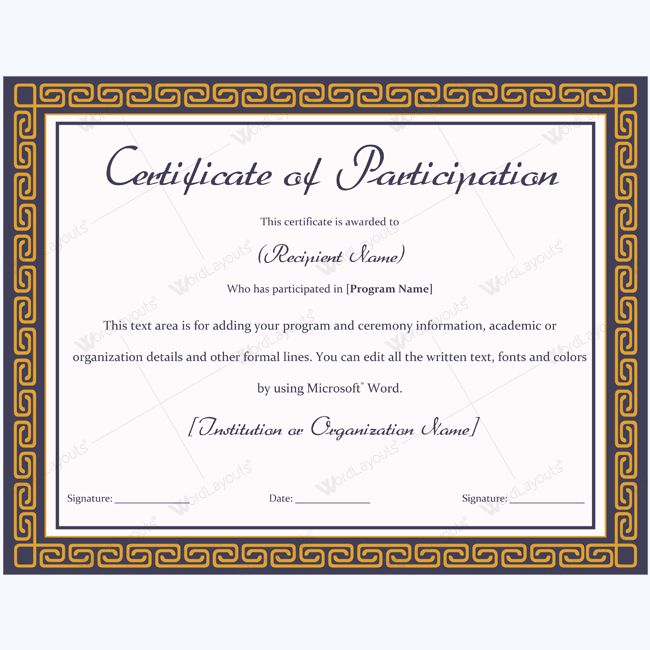 13 best Certificate of Participation Templates images on Pinterest - Award Certificate Template Word