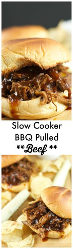 Slow Cooker Pulled BBQ Beef Sandwiches: delicious and tender beef slow cooked in a homemade BBQ sauce served on a toasted hamburger bun. Perfect for parties