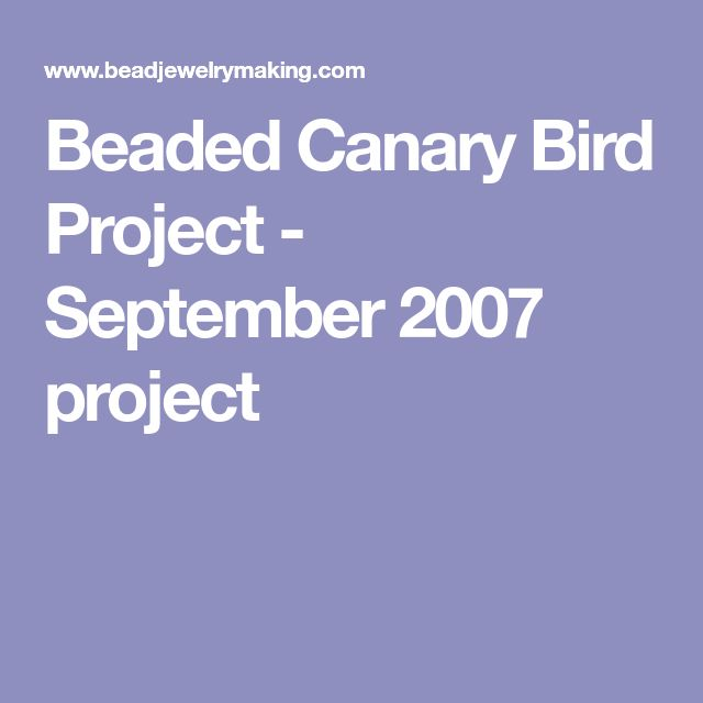 Beaded Canary Bird Project - September 2007 project