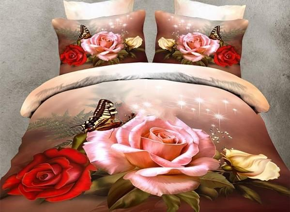 3d Roses And Butterfly Printed Polyester Luxury 4 Piece Bedding