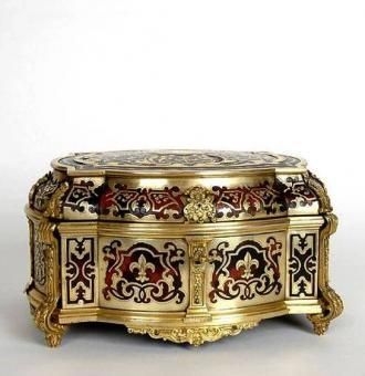 Antique French Boulle Jewelry Box Tortoise Shell