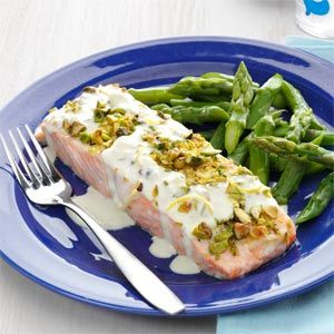 Pistachio-Crusted Salmon with Lemon Cream Sauce.  Didn't make the salmon, but the cream sauce was delicious.  I used garlic instead of shallots, and it was perfect on the garlic rosemary salmon.  Will eat again!!