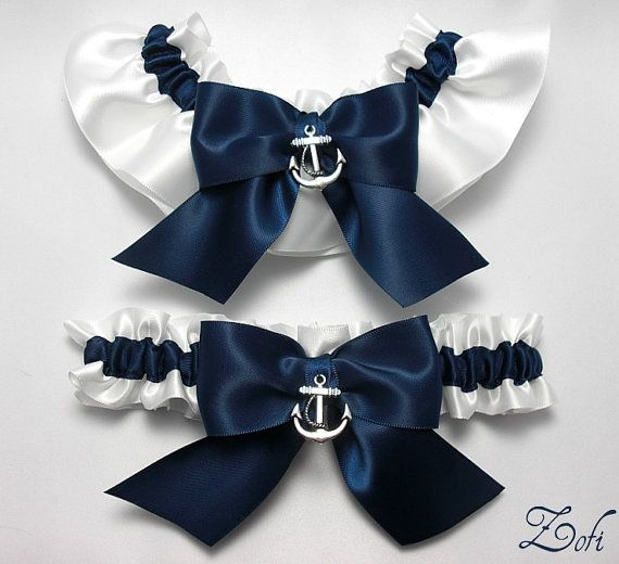 Father Was A Navy Seal And Soon To Be Hubby In The Garter Set White Blue Satin With Bows Silver Anchor Charms