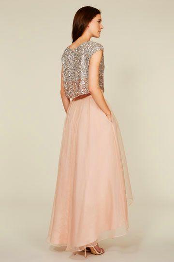 2 pieces bridesmaid dresses, short sleeve blush pink bridesmaid dresses, organza bridesmaid dresses, sequin rhinestone bridesmaid dresses, 16313 - Thumbnail 1