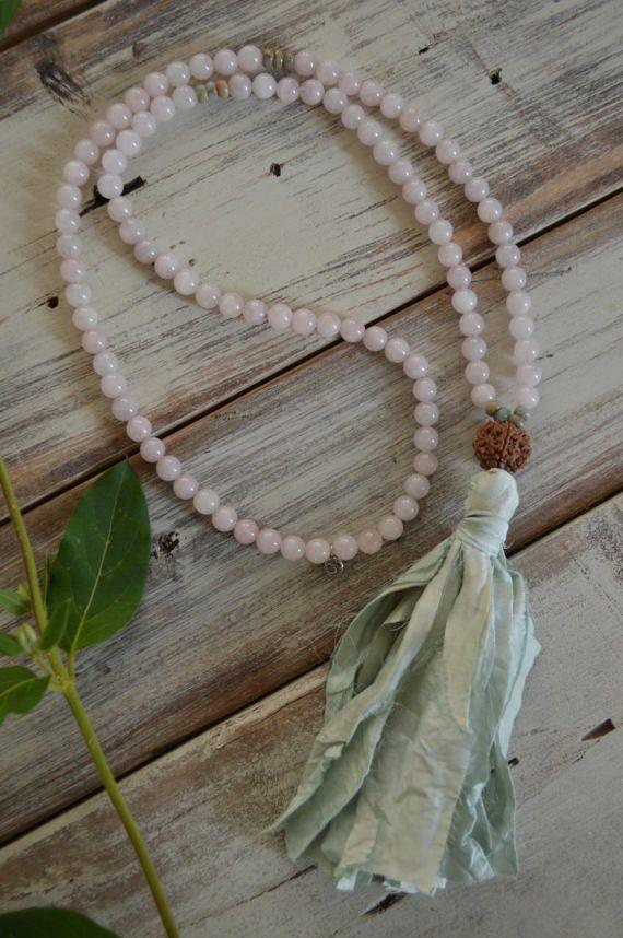 Rose Quartz pink mala necklace  108 mala by inlovewithnowjewelry