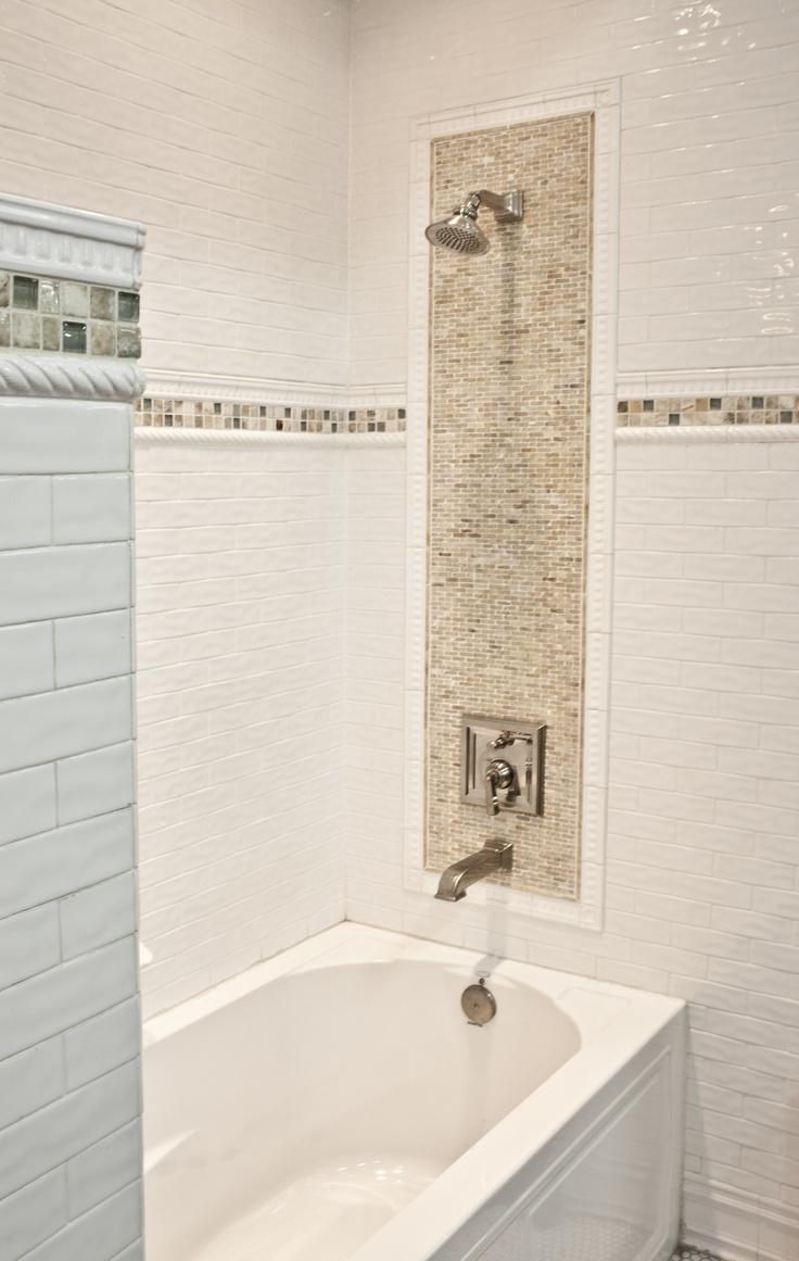 Ceramic Subway Tile With Onyx Mosaic Bathroom