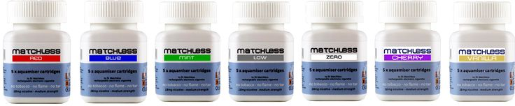 7 realistic flavours of E-Cig cartridge from Matchless - great taste & nicotine hit from 0 - 24mg. see more at www.matchlessecig.co.uk