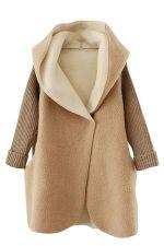 Womens Hooded Knitted Long Sleeve Loose Coat Khaki