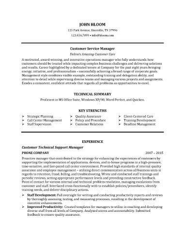 Customer Service Manager Resume Sample