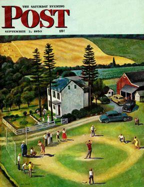 Family baseball game on farm