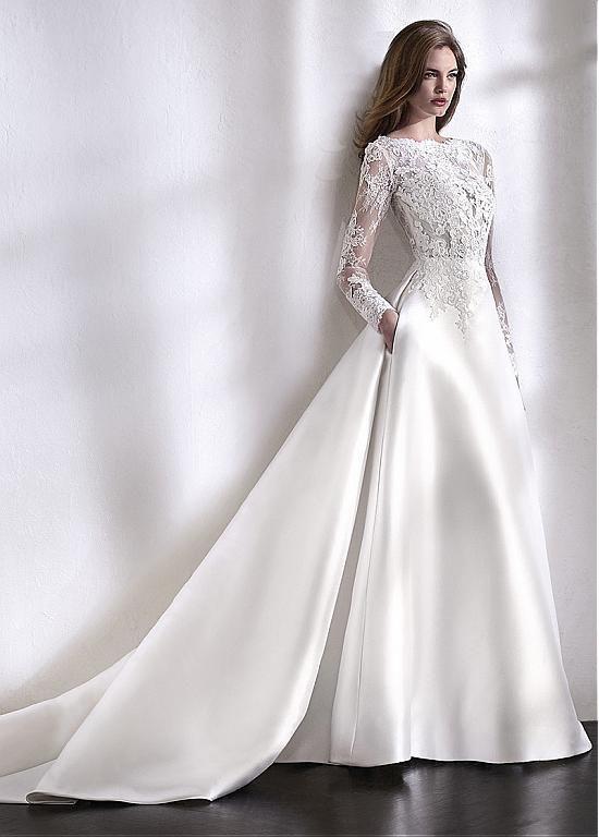 Kaufen Sie Rabatt Elegante Tulle & Satin Bateau Ausschnitt A-Line Brautkleid mit …   – gelin