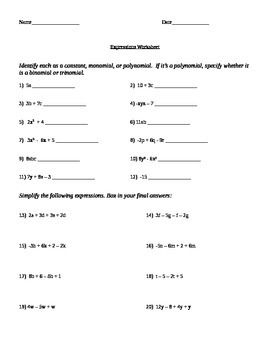 Pictures Simplifying Variable Expressions Worksheet - Toribeedesign