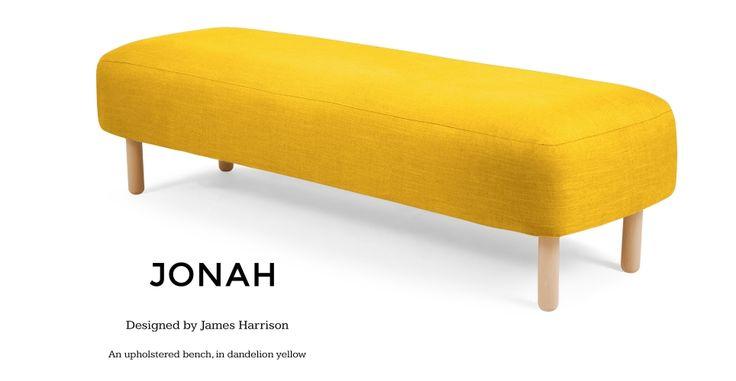 Jonah Upholstered Bench in dandelion yellow   made.com