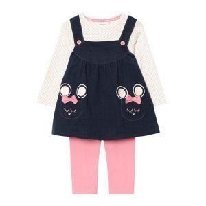 bluezoo Babies navy pinafore, t-shirt and leggings set- at Debenhams Mobile