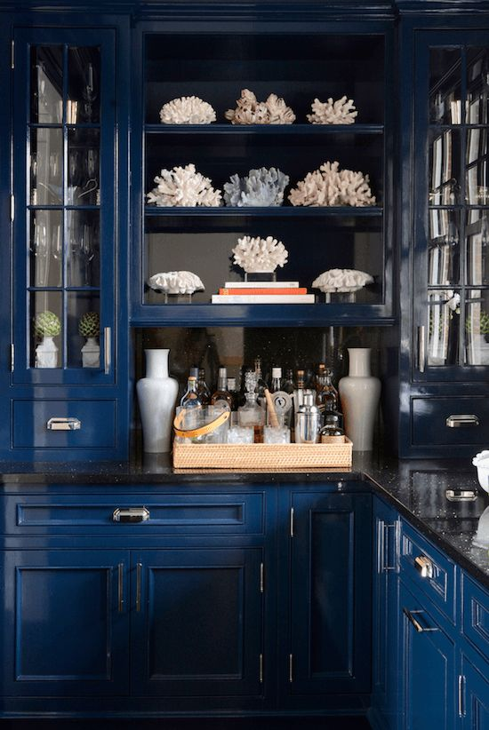 And The 2016 Color Of The Year Is... - laurel home | astonishingly beautiful butler's pantry designed by Muse Interiors for Sue de Chiara, aka: The Zhush | love the coral and white accents #blueandwhite #blueandwhitekitchens