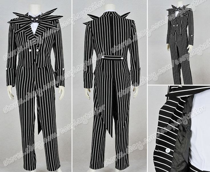 The Nightmare Before Christmas Cosplay Jack Skellington Costume Stripe Suit New #Suit