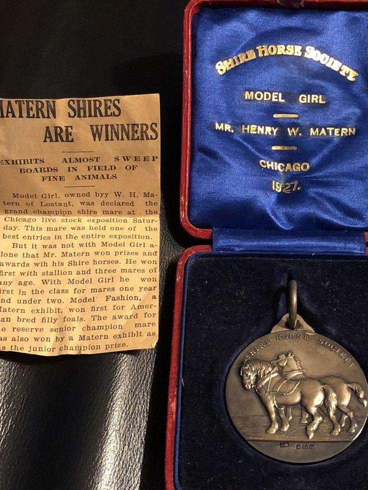 1927 Sterling Silver Watch Fob /case Shire Horse Society MODEL GIRL HENRY MATERN  | eBay