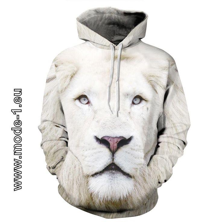 Herren Pullover Hoodie mit 3D Druck - Weiße Löwe