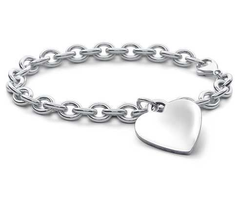 Buy this classic design Silver Plain Heart Bracelet you're sure to love. Our heart bracelet is sterling silver plated and perfect for engraving.