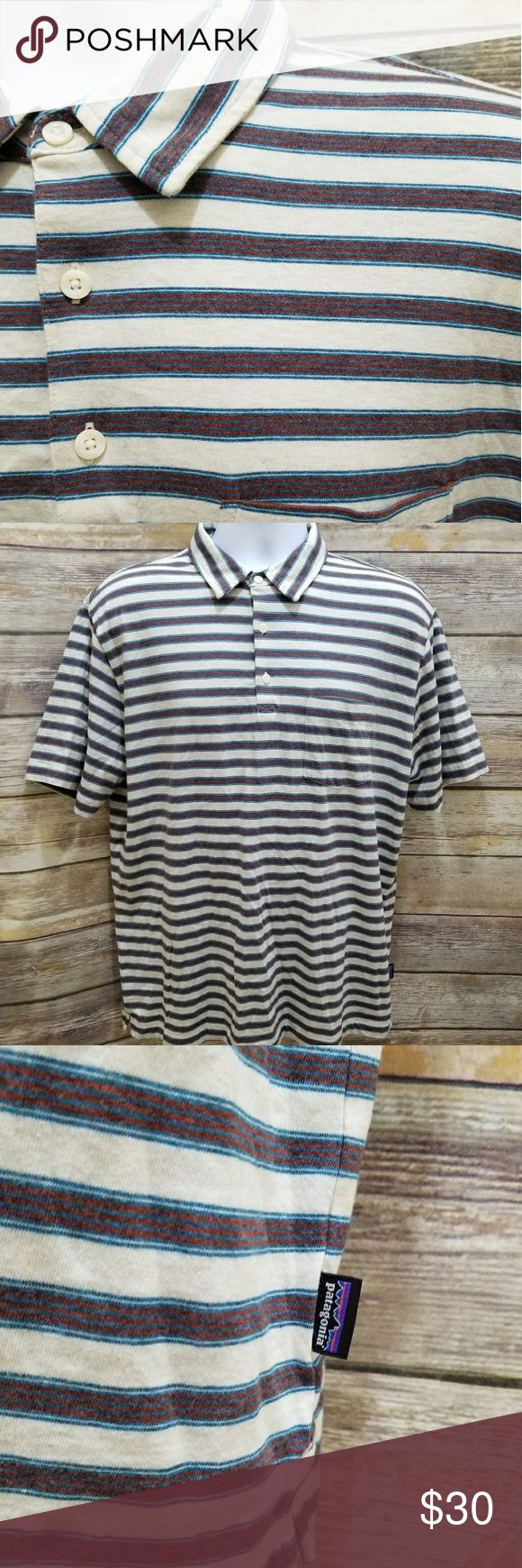 "Patagonia Mens striped collar pullover polo shirt EUC, cream, blue and deep red stripe collared pullover polo shirt. Mens size L.   Measurements: (approximate flat lay) Armpit to armpit: 22 1/2"" Shoulder to bottom hem: 28"" Patagonia Shirts Polos"