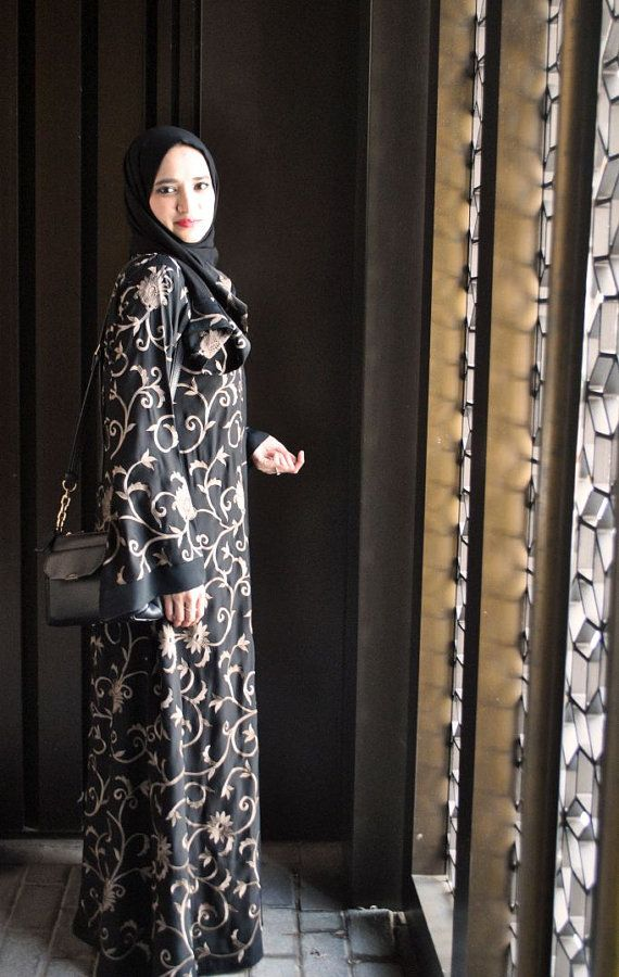 Abaya with Beige Floral Embroidery Everyday by MinShaFashion