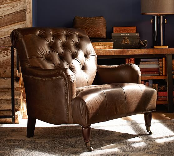 tufted leather chair pottery barn 3