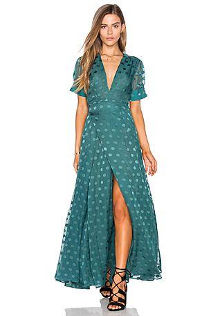Mara Hoffman Off The Shoulder Maxi Dress en Verde Salvia   REVOLVE