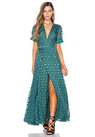 Tularosa Jace Wrap Dress in Deep Viridian | REVOLVE