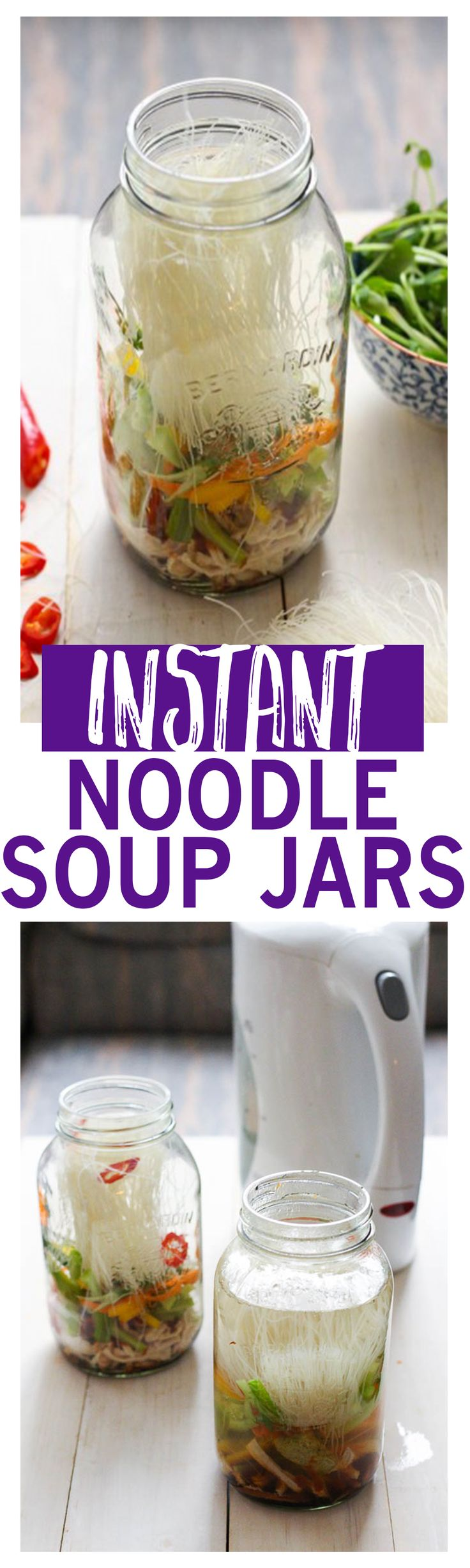 Instant Noodle Soups are the perfect on-the-go work lunch and packed full of vermicelli noodles & shredded chicken!