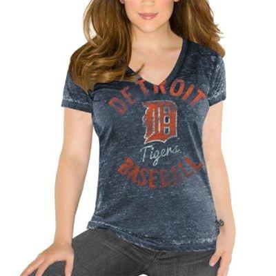 Detroit Tigers Touch by Alyssa Milano MLB Womens #1 Fan Burnout Short Sleeve V-Neck T-Shirt (Navy)