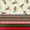 All fabric needed for a Sock Monkey theme