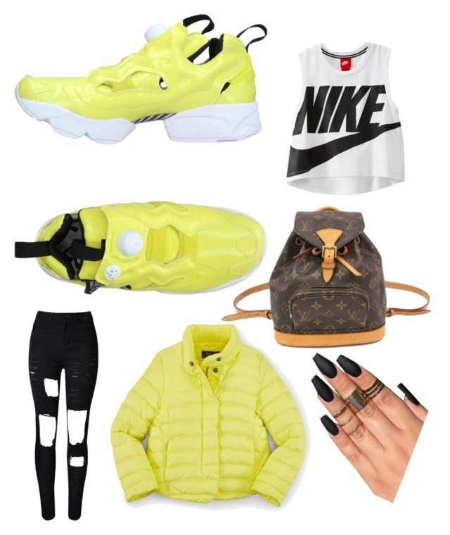 """""""Mellow"""" by tymarahshand on Polyvore featuring Reebok, Louis Vuitton, NIKE and WithChic"""