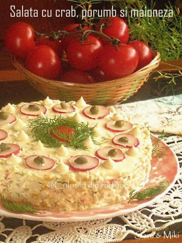 Salata cu crab, porumb si maioneza din categoria Salate aperitiv.