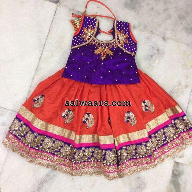 Orange Purple Floral Lehenga - Indian Dresses