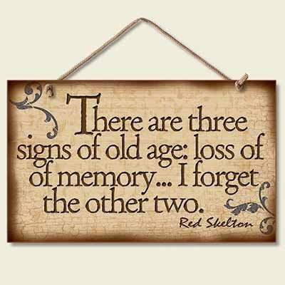 Three signs of getting older