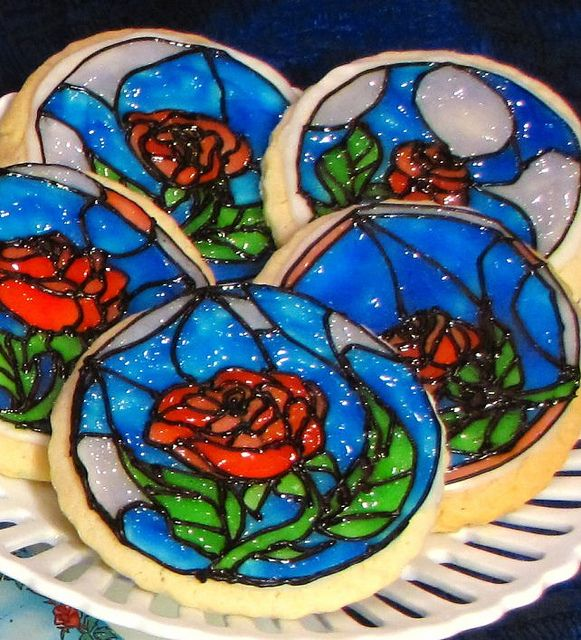 Stained glass cookies. Reminds me of the rose from Beauty and the Beast.