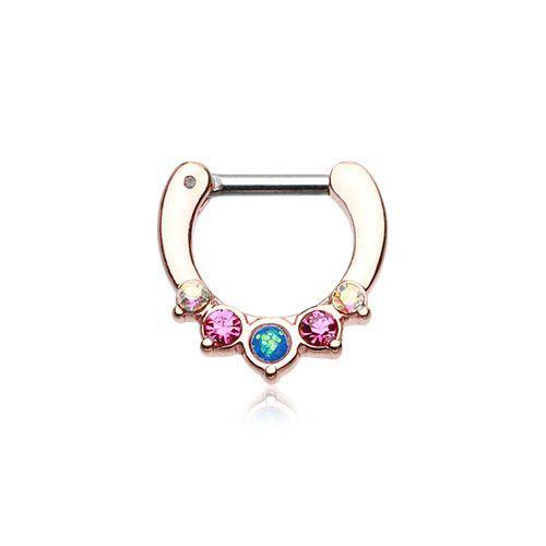 FreshTrends Golden Pink Faux Opal Precia Septum Clicker | FreshTrends Body Jewelry