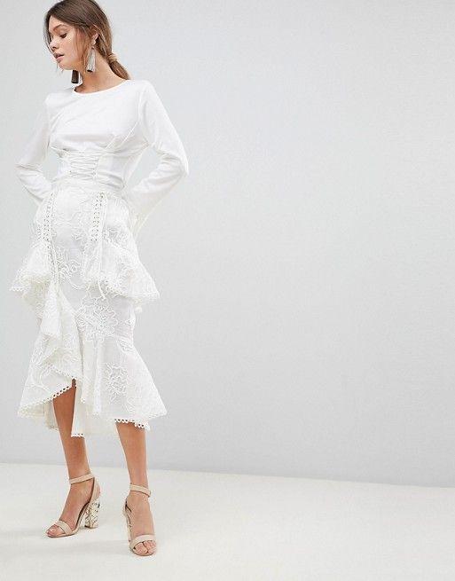 3450b7481e4733 True Decadence Premium Asymmetric Ruffle Lace Midi Skirt