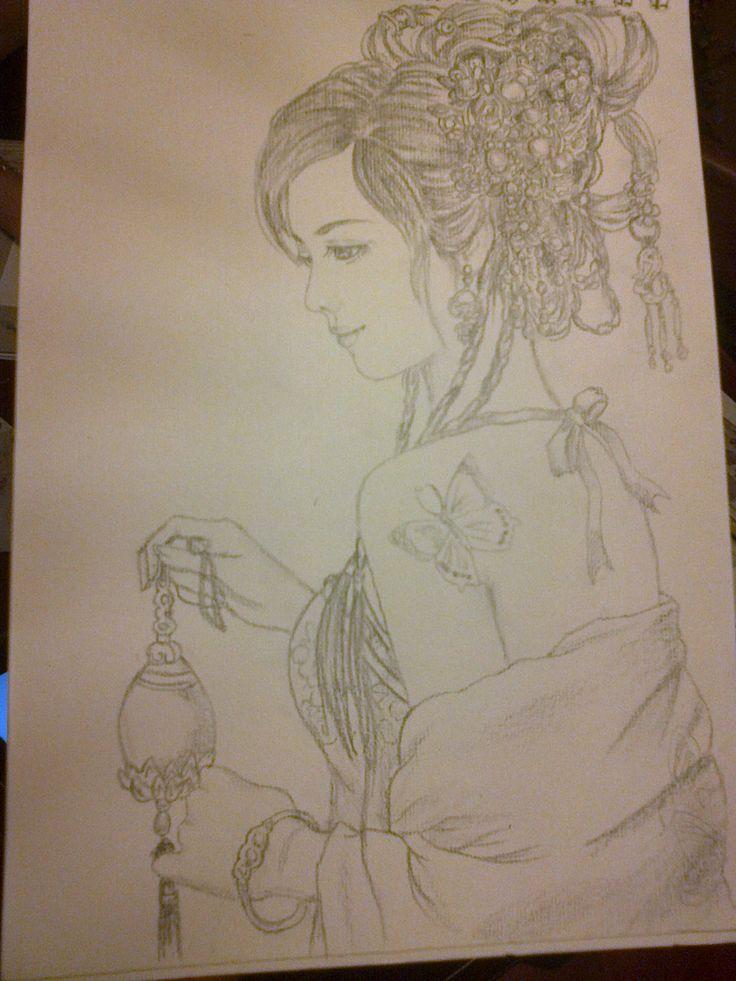 Dibujo a lapiz de mujer china