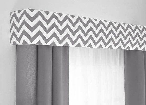 Custom Pelmet Box Cornice Board Window Treatment in modern gray chevron…