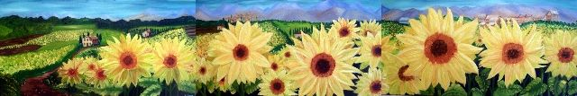 Sunflower fields in Tuscany - commission for a local Italian Restaurant