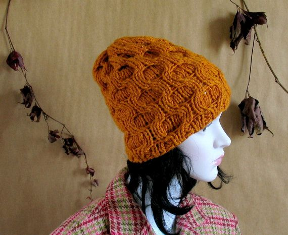 Hand Knit Golden Yellow Cable Beanie Hat by recyclingroom on Etsy