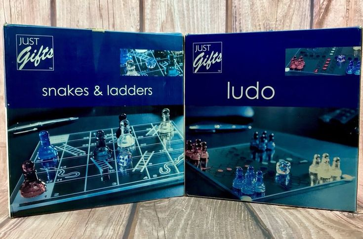 Just Gifts 2 Glass Sets Snakes & Ladders & Ludo Both Complete Lovely Condition