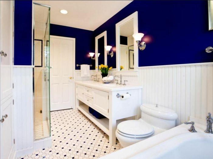 farbgestaltung wandgestaltung wanddesign badezimmer blau satt - Badezimmer Farbgestaltung