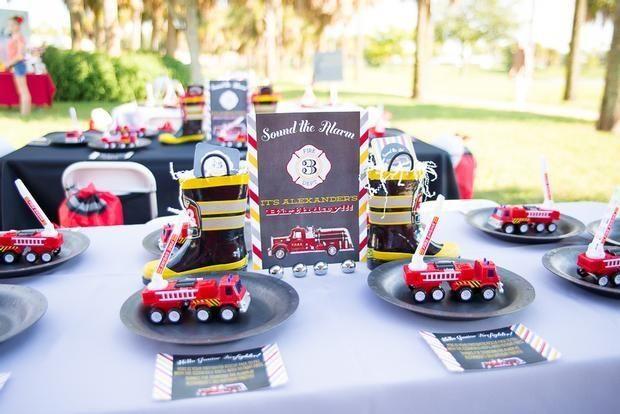 boy's fireman birthday party
