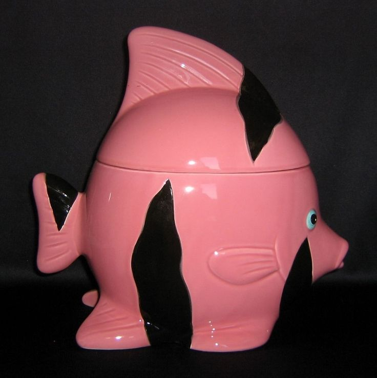 Large Retro Ceramic Pink Angel Fish Cookie Jar MIJ