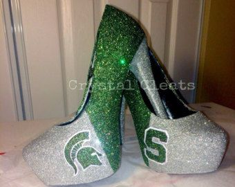 MICHIGAN STATE University MSU Spartans college Football high heel stiletto shoes Custom Made All Teams N Sizes graduation bride wedding