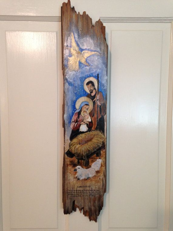 Christmas Nativity scene recycled barnwood original by Art4thesoul