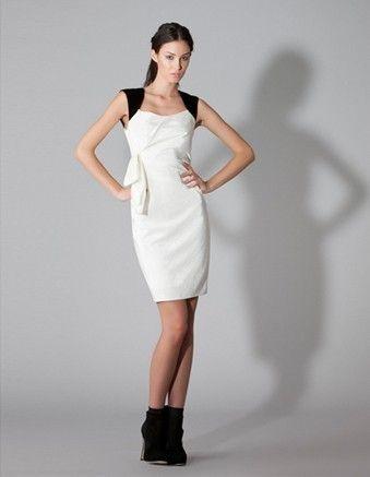 Matthew Eager - Velvet Trim Side Draped Holster Dress