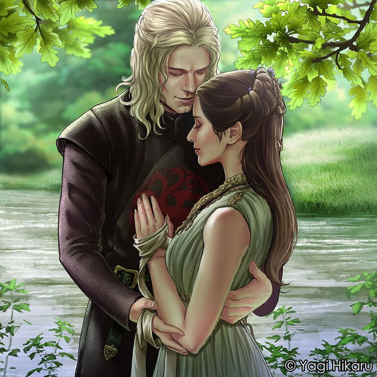 Rhaegar Targaryen and Lyanna Stark parents of John Snow aka Aegon Targaryen. Game of Thrones The Secret Wedding by yagihikaru #TheDragonandTheWolf #housetargaryen #fanart
